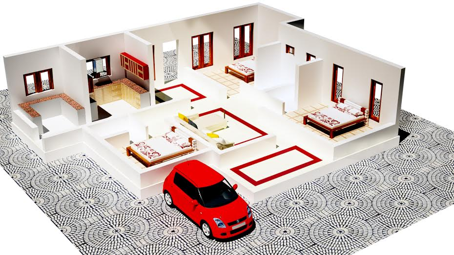 Budget 3 bedroom attached kerala veedu free plan with 1250 for Kerala veedu plan