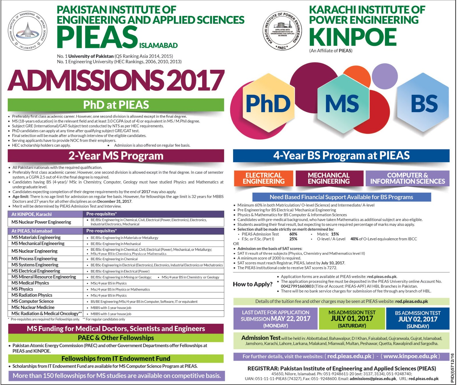 Admission open PIEAS Pakistan Institute of Engineering and Applied Sciences Islamabad 2017
