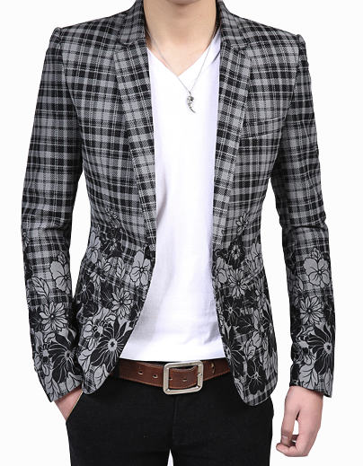 Grey Plaid Floral Blazer For Men