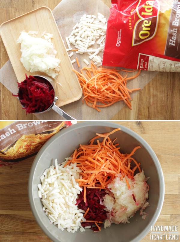 Shredded Potato, Beet & Carrot Latkes #OreIdaHashbrown  #shop