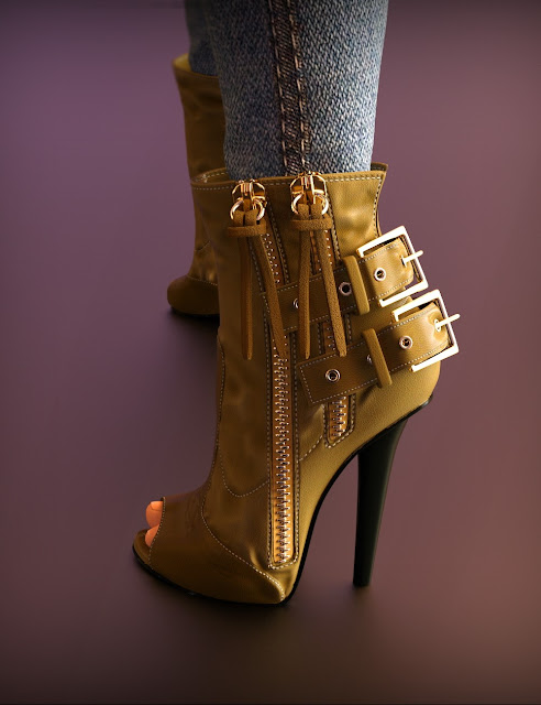 Double Zipper Buckle Boots for Genesis 3 Female