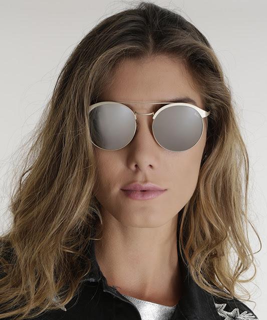 óculos redondo feminino pat pat's dourado - único