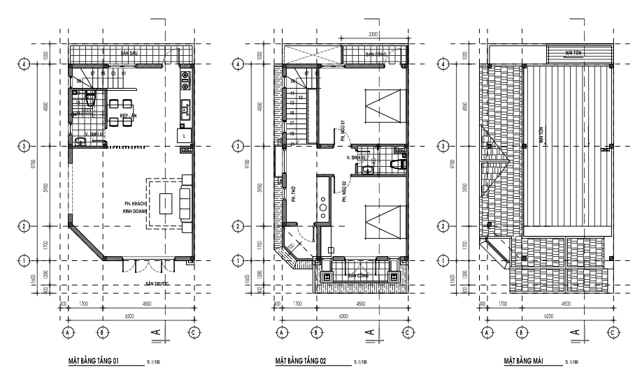 Mẫu nhà 6,6 x 12,3m - 1 trệt, 1lầu