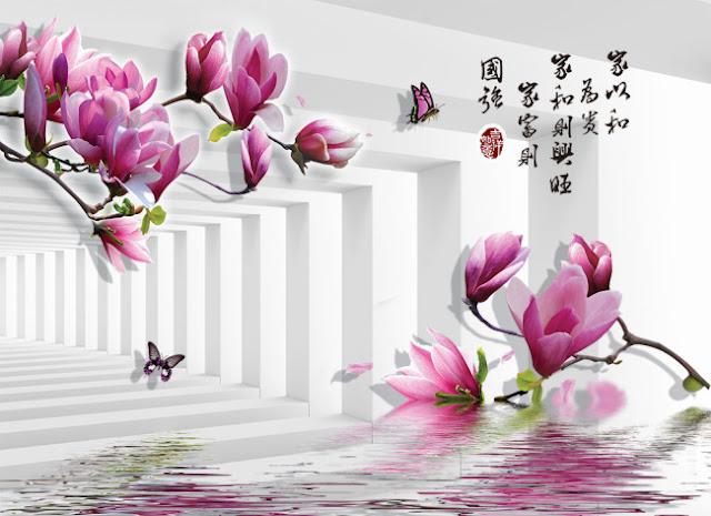 Tranh Hoa 3d Dán tường miễn phí