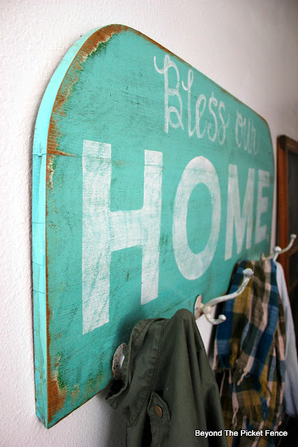 coat hook, home sign, bless our home, repurposed, https://goo.gl/N4M3jb