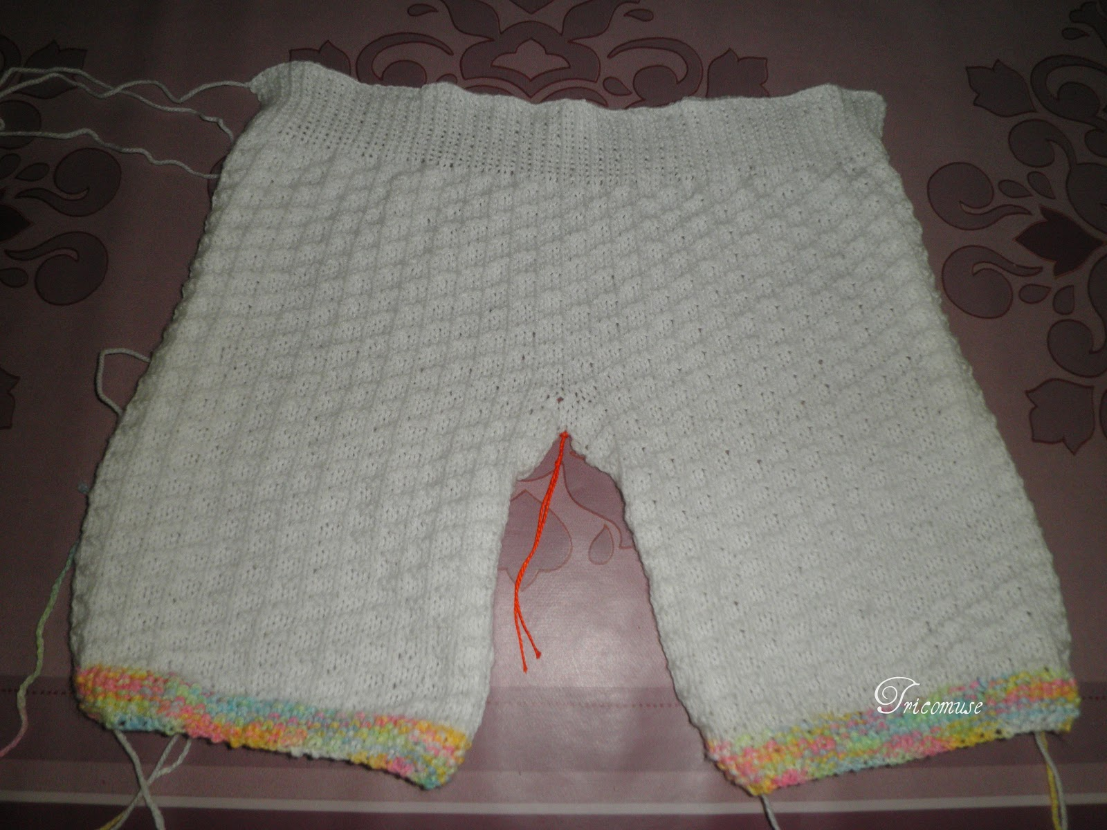 Wonderful Tricot et compagnie: Pantalon bébé au point andalou double PM76