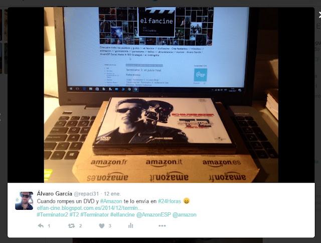 """¡Gracias Amazon España por vuestros regalos! Terminator 2 + Claqueta de cine como mi logo de """"el fancine"""" - ÁlvaroGP Social Media & SEO Strategist - el troblogdita - el fancine - Amazon España"""