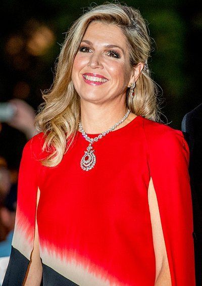 Queen Maxima wore a caftan from 'Modern Camouflage' collection of Dutch fashion designer Jan Taminiau
