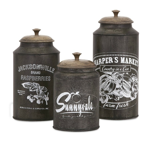 Dark Metal Canister Set