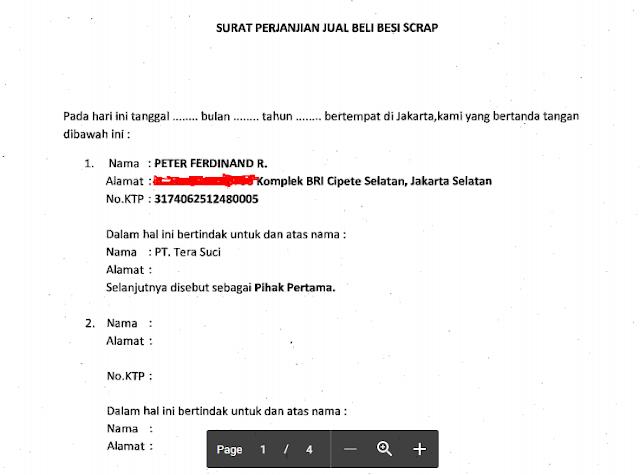 Download Contoh Surat Perjanjian Jual Beli Besi Scrap