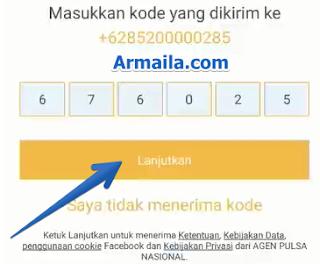 Masukkan kode yang dikirimkan ke nomor anda tadi ke kolom yang disediakan setelah itu klik tombol selanjutnya