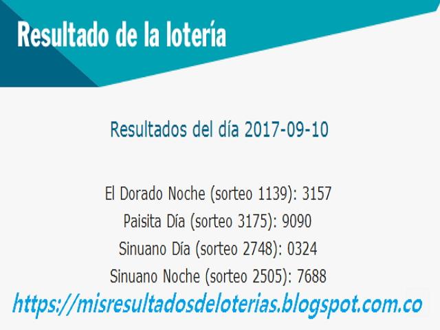 Como jugo la lotería anoche | Resultados diarios de la lotería y el chance | resultados del dia 10-09-2017