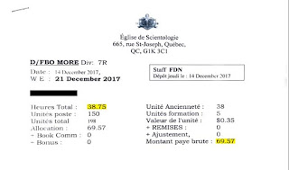 In this pay stub, obtained by Radio-Canada, the Church of Scientology of Quebec appears to have paid someone just under $70 for nearly 39 hours of work. (Radio-Canada)