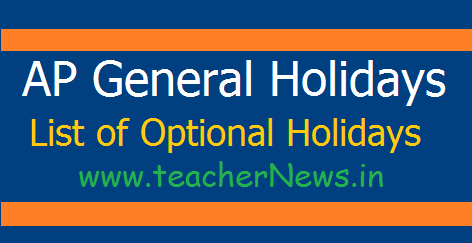 AP List of Holidays 2018 List of General/ Optional Holidays GO 2437