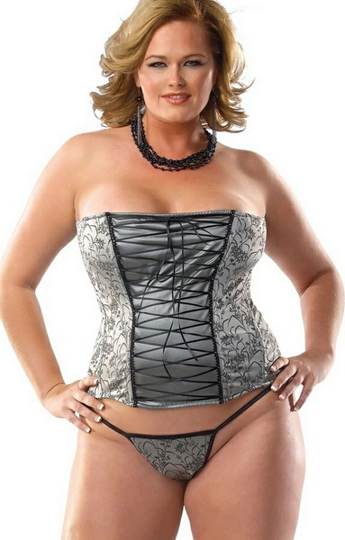 Discount Cheap Silver Stretch Corset Plus Size Lingerie Collections fa57a60bc4aa