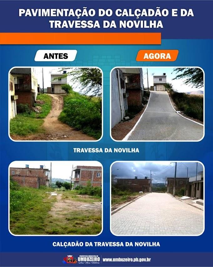 Prefeitura de Umbuzeiro conclui pavimentação do Calçadão  e da Travessa da Novilha
