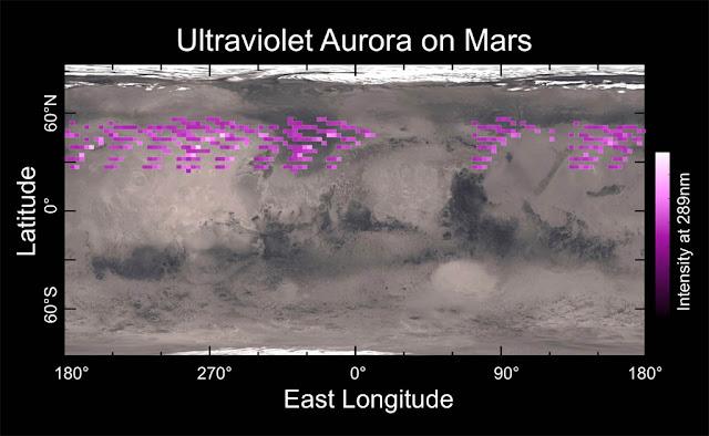 Dados mostram auroras em Marte no ultravioleta