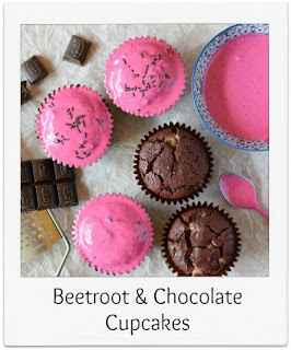 An easy to make beetroot and chocolate muffin style cupcake, which is just as delicious with or without the vibrant pink beetroot frosting.  These cupcakes are beautifully moist, and are punctuated with chocolate chips.