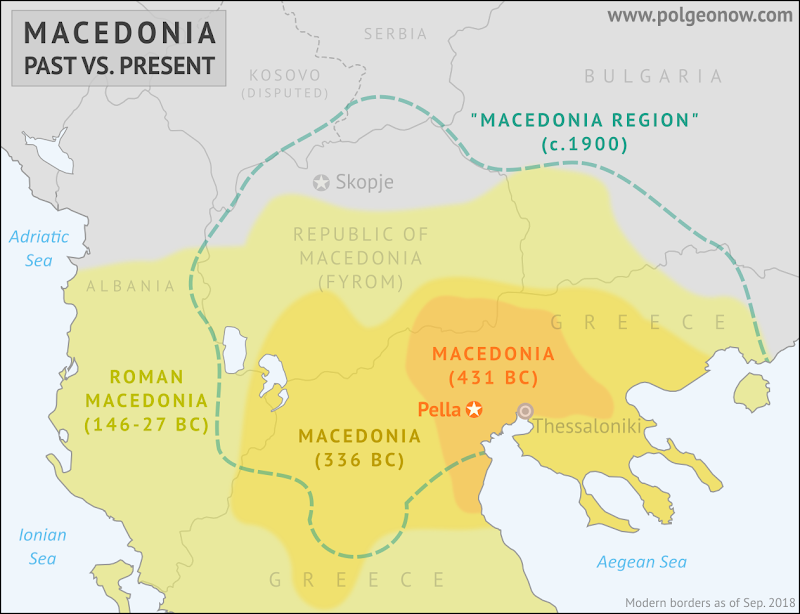 Where is Macedonia in relation to Greece and the ancient Kingdom of Macedonia of Alexander the Great? Map of ancient Macedonia compared to current borders of Greece and the Republic of Macedonia (FYROM).