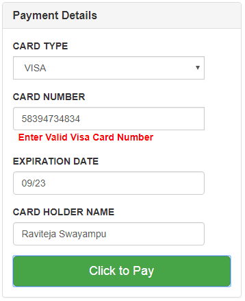 Validate format of credit card