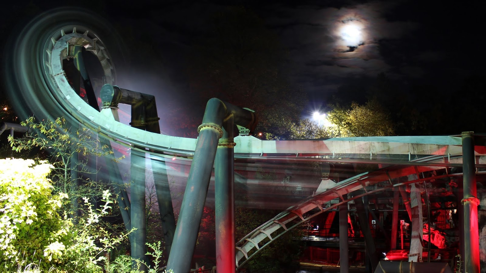 Photo of Nemesis Roller Coaster at Alton Towers at night