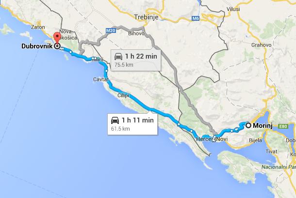 route Morinj-Dubrovnik