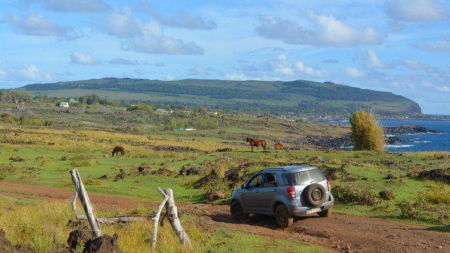 Viagem de carro na Ilha de Páscoa