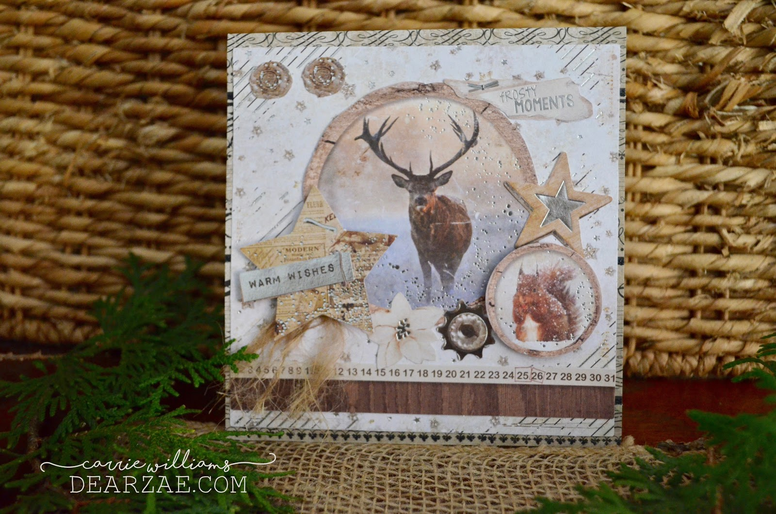 Rustic holiday Christmas cards featuring wildlife - deer and fox - in kraft, beige, cream, brown, and silver from card making kit