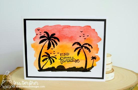 Palm Tree Sunset Card by Jess Gerstner | Paradise Palms stamp set by Newton's Nook Designs #newtonsnook