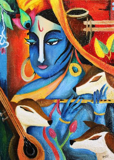 Krishna the cowherder by Dr. Amaeya Parekh (www.indiaart.com)