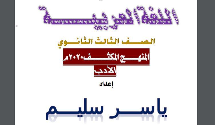 مراجعة ليلة امتحان الادب للصف الثالث الثانوي 2020 مستر ياسر سليم