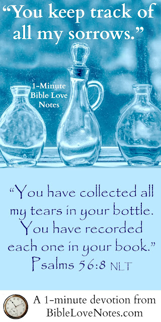 God cares deeply for us, Psalms, tears