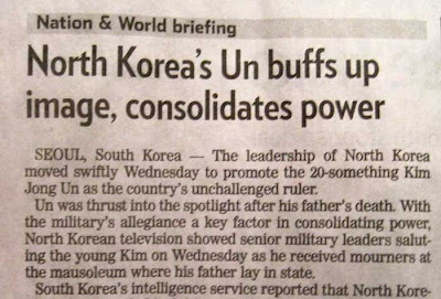 Pioneer Press news brief with headline North Korea's Un buffs up image, consolidates power