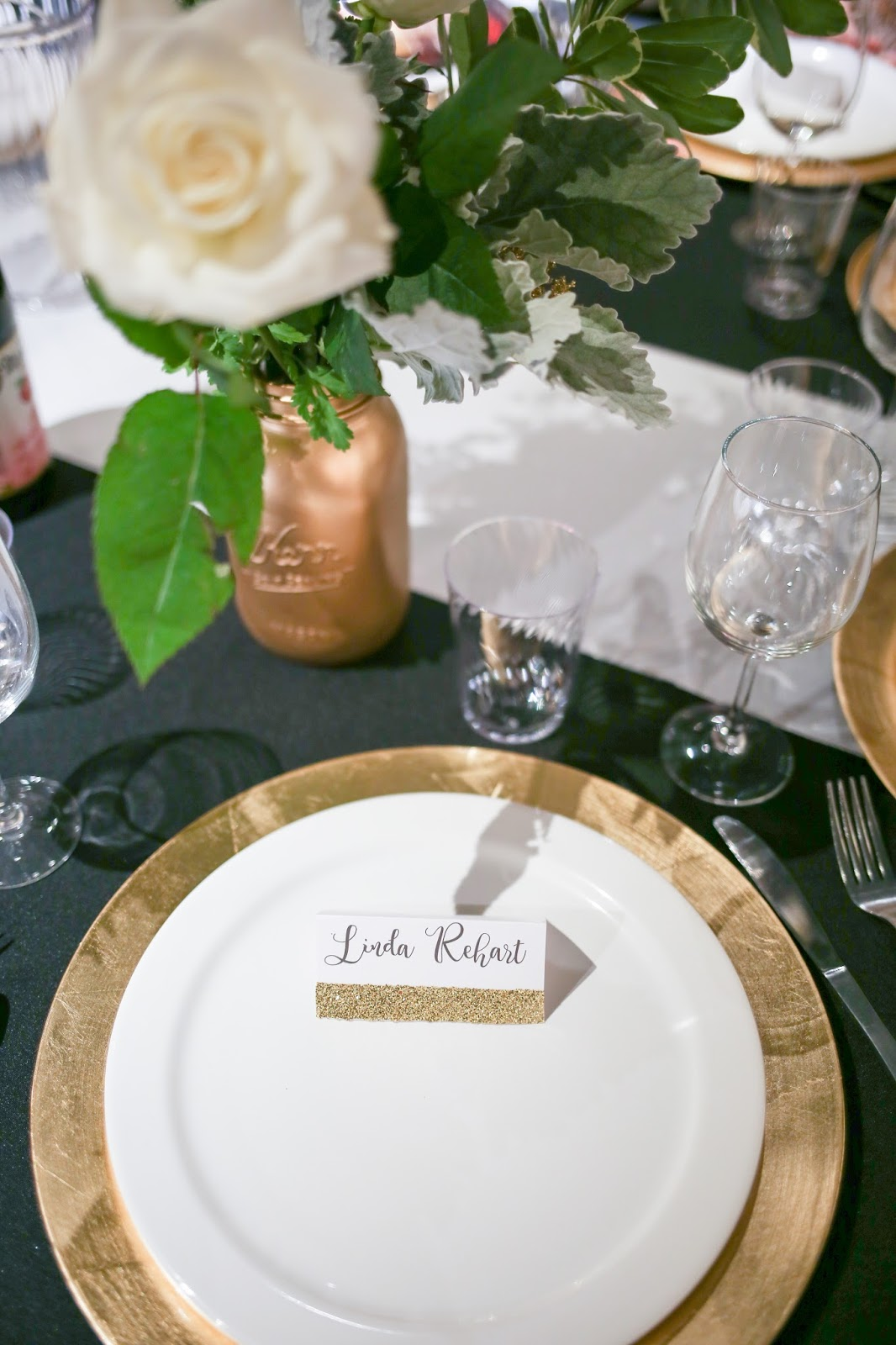 I Had So Much Fun Making These Place Cards For All The Guests I Love How  The Gold Accented With The Black And White 007 Spylike Decor