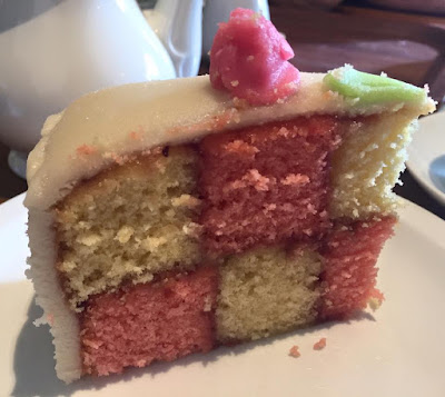 Homemade Battenberg cake at Moorhouse Farm Shop near Stannington, Morpeth, Northumberland