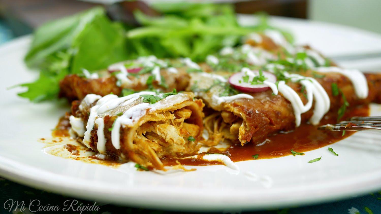 Enchiladas Rojas de Pollo  Mi Cocina Rpida