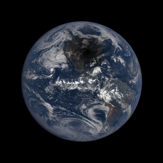 Moon's shadow on Earth seen by DSCOVR Observatory