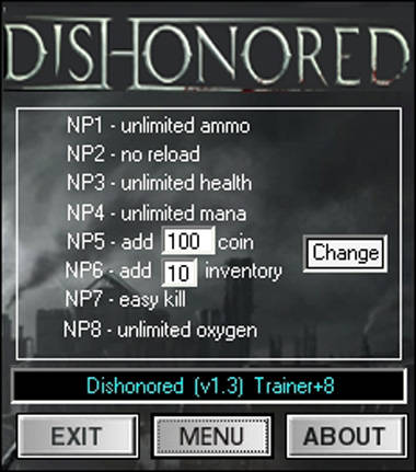 1Z1: Dishonored: The Knife of Dunwall v1 3 +8 Trainer