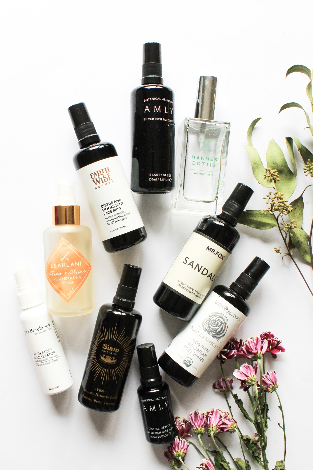 Organic natural face mists toners. Amly Botanicals, Sias Seas, Leahlani, Lilfox, Alteya Organics, Earthwise Beauty