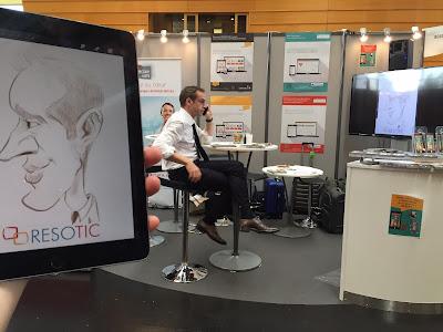 Animation caricature sur tablette pour la Société Resotic de Clermont Ferrand au salon CER France à la cité des Congrès de Nantes. ©Guillaume Néel