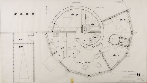 "Plan maison évolutive ""escargot"", 1965 Guy Rottier -  FRAC"