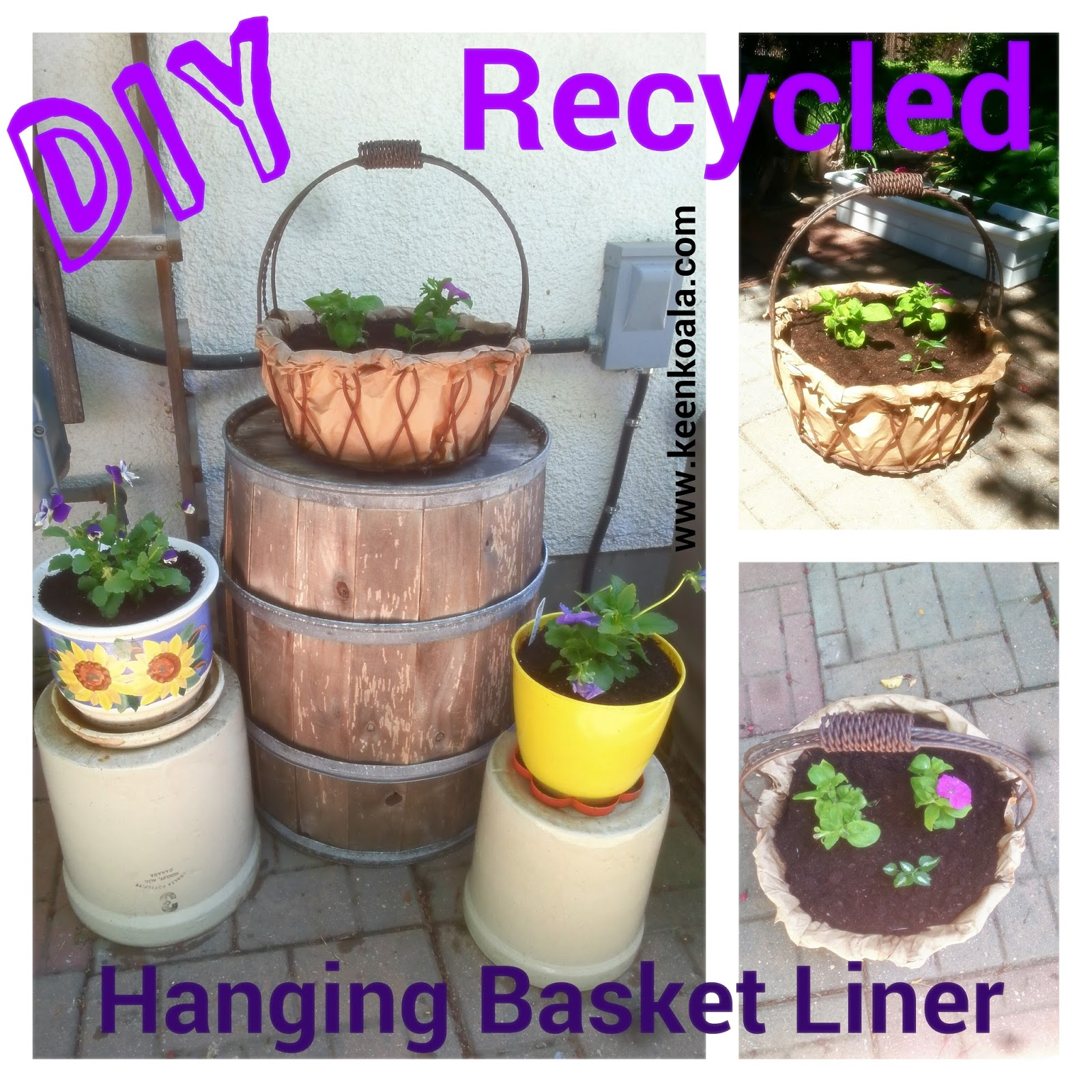 Diy Hanging Fruit Basket Ideas And Pictures: Keen Koala: DIY Hanging Basket Liner Made From Recycled
