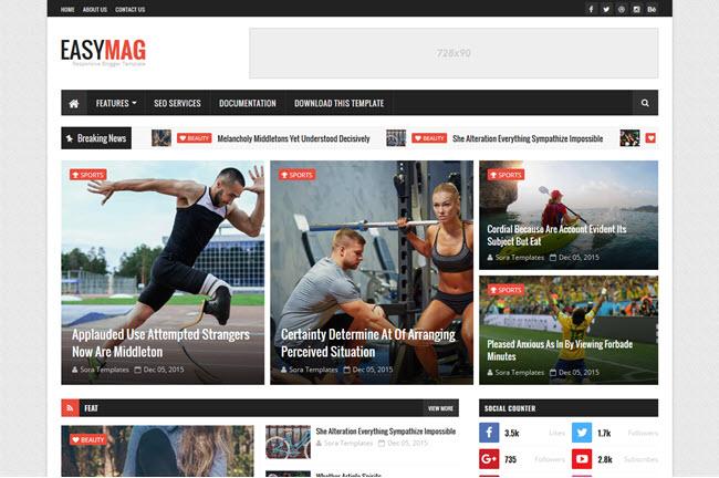 Easy Mag – Responsive Magazine Blogger Template