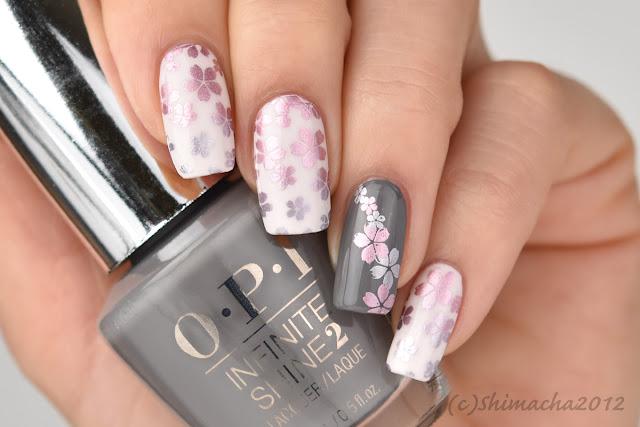 Cherry Blossom Nails, Nail Stamping, Opi Infinite Shine, Moyou London, 桜ネイル, スタンピングネイル