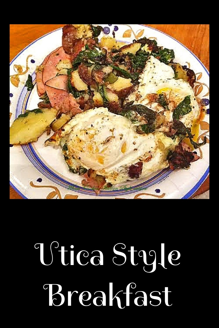 old fashioned breakfast from my hometown Utica New York with eggs, spinach or escarole, ham, potatoes