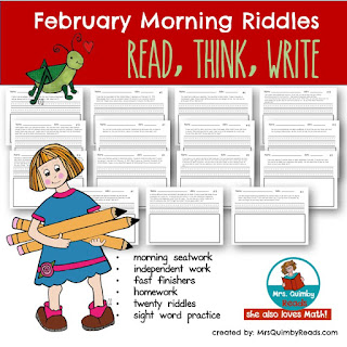 MrsQuimbyReads, teaching resources, writing prompts, February