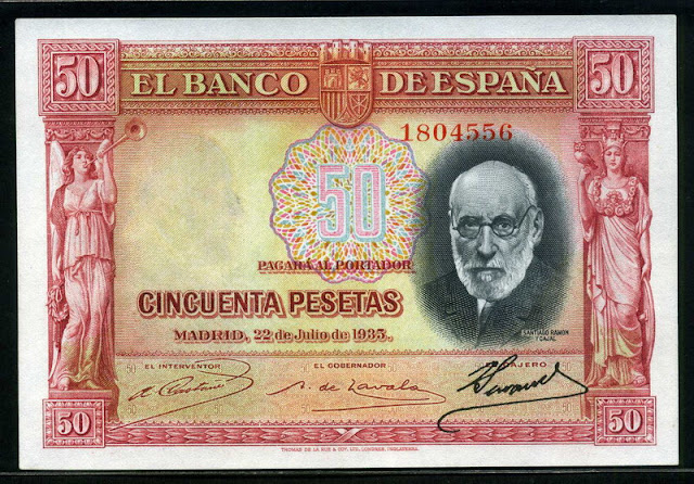 Spain money 50 Pesetas Spanish Currency
