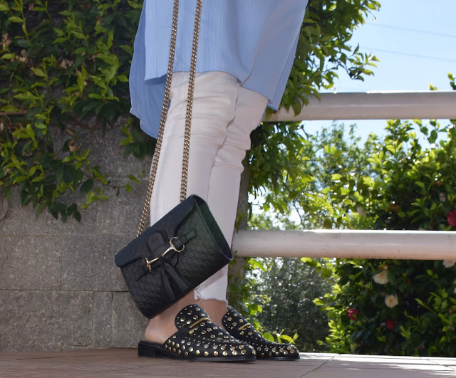 come abbinare le slippers how to wear slippers scarpe slippers outfit slippers come abbinare le slippers scarpe tendenza primavera 20019 how to wear slippers mariafelicia magno fashion blogger colorblock by felym fashion blogger Italy Steve Madden slippers shoes Steve Madden Gucci bag scarpe slippers Steve nmadden