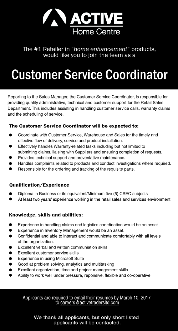 experience of working in a customer service environment