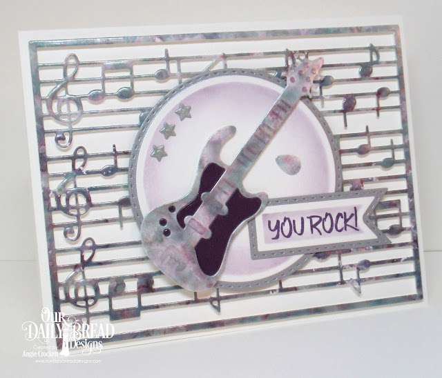 ODBD Jesus Rocks, ODBD Custom Musical Notes Background Die, ODBD Custom Guitar Dies, ODBD Custom Double Stitched Pennant Flags Dies, ODBD Custom Pennant Flags Dies, ODBD Custom Double Stitched Circles Dies, ODBD Custom Circles Dies, ODBD Custom Sparkling Stars Dies, Card Designer Angie Crockett